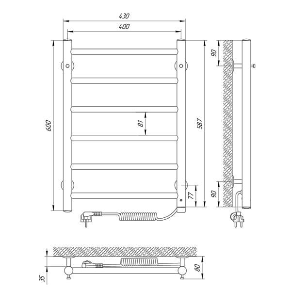 Схема - Рушникосушарка LARIS Альфа П6 400 х 600 Електро (підкл. справа)