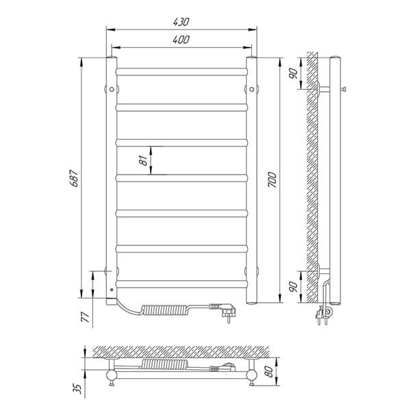 Схема - Полотенцесушитель LARIS Альфа П7 400 х 700 Электро (подкл. слева)