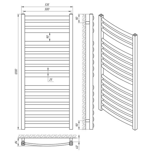 Схема - Рушникосушарка LARIS Атлант П16 500 х 1200