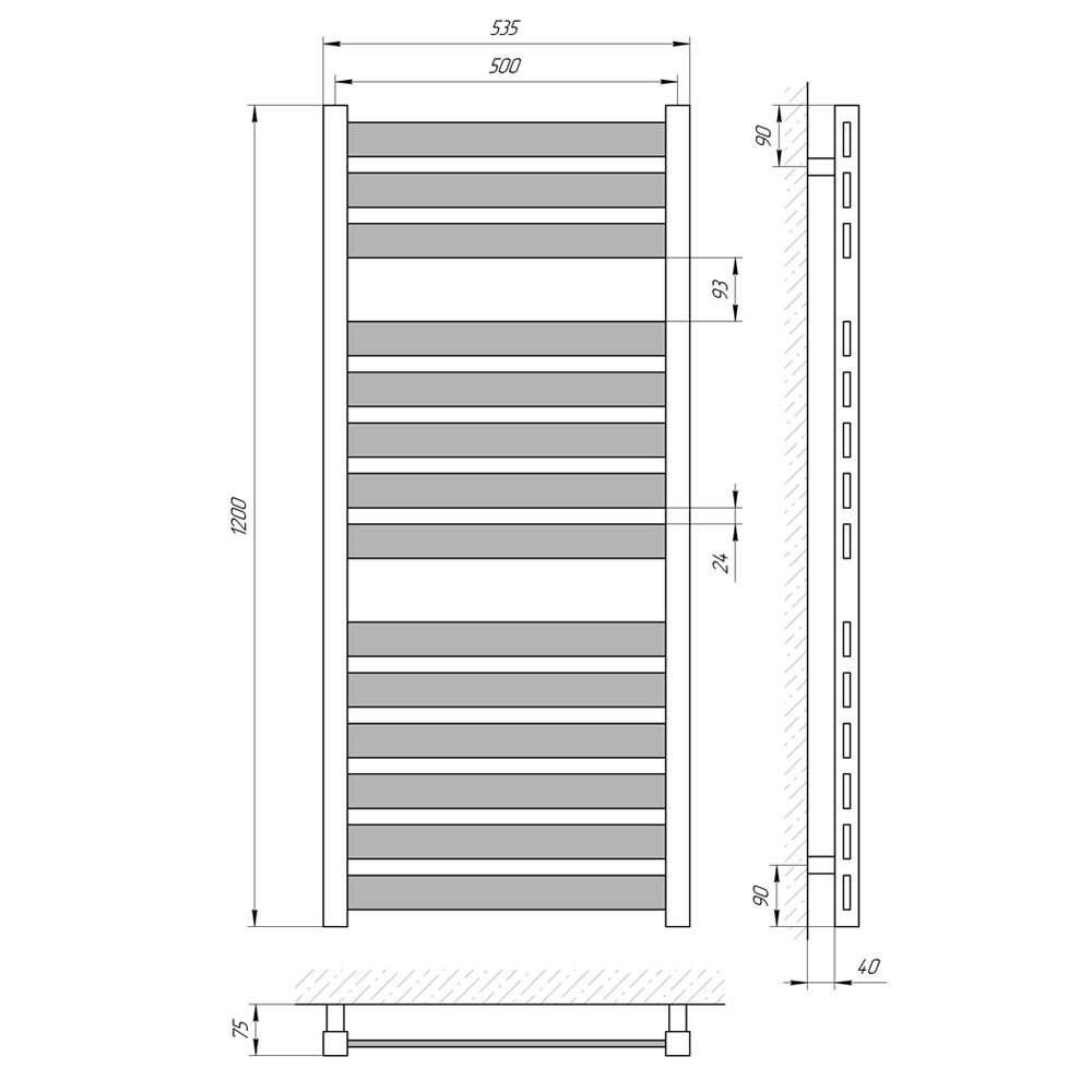 Схема - Полотенцесушитель LARIS Бонд П14 500 х 1200