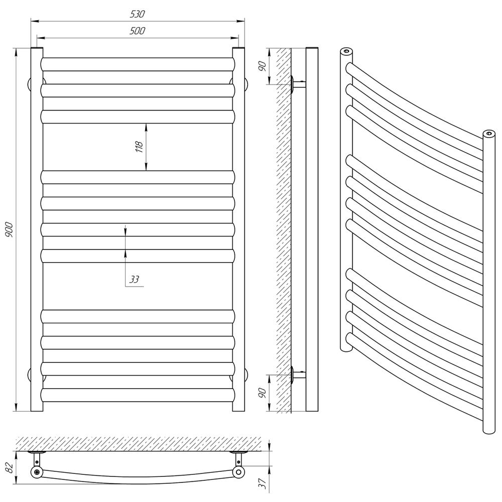 Схема - Полотенцесушитель LARIS Классик Премиум П11 500 х 900