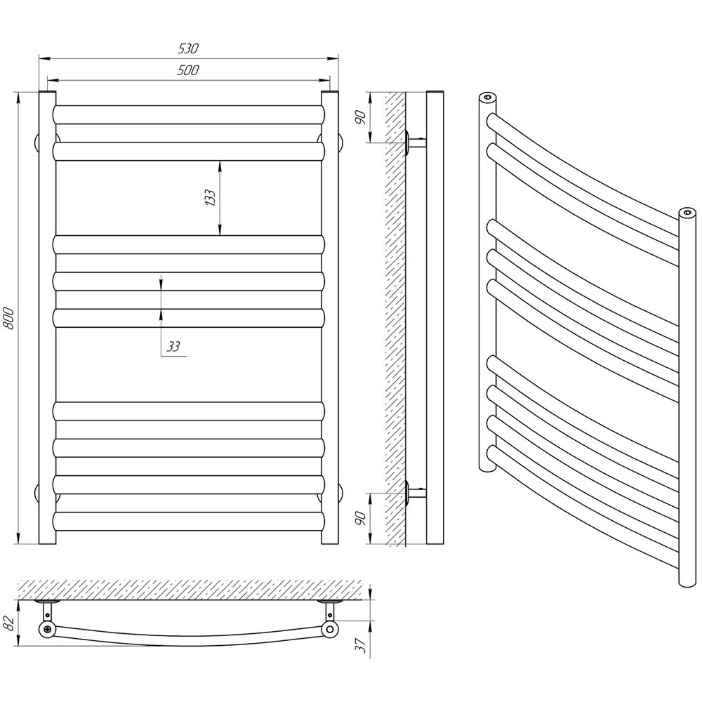 Схема - Полотенцесушитель LARIS Класік Преміум П9 500 х 800