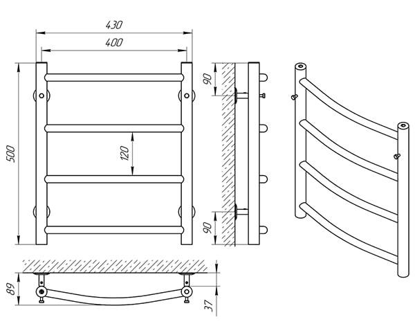 Схема - Рушникосушарка SUNLINE Класік SL П4 400 х 500