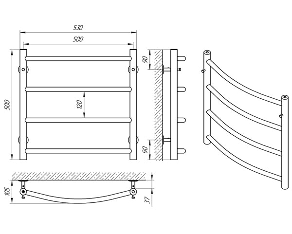 Схема - Полотенцесушитель LARIS Классик П4 500 х 500