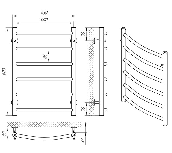 Схема - Полотенцесушитель LARIS Классик П6 400 х 600