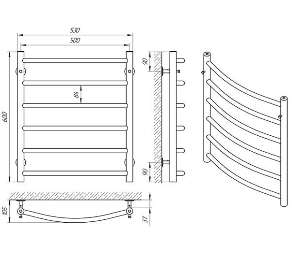Схема - Рушникосушарка LARIS Класік П6 500 х 600