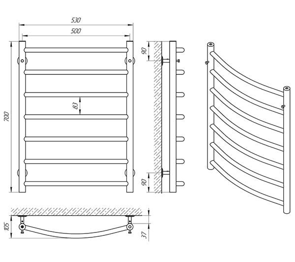 Схема - Полотенцесушитель LARIS Классик П7 500 х 700