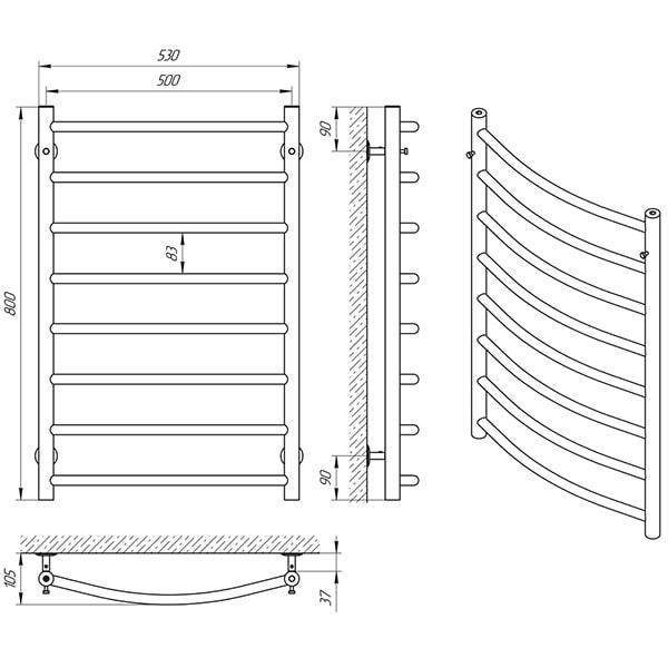 Схема - Полотенцесушитель LARIS Классик П8 500 х 800