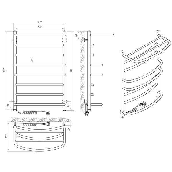 Схема - Полотенцесушитель LARIS Евромикс П8 500 х 800 с полкой Электро (подкл. слева)