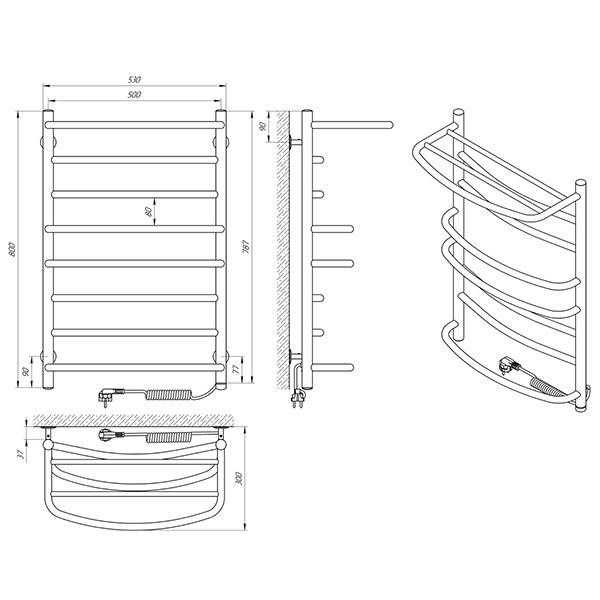 Схема - Полотенцесушитель LARIS Евромикс П8 500 х 800 с полкой Электро (подкл. справа)
