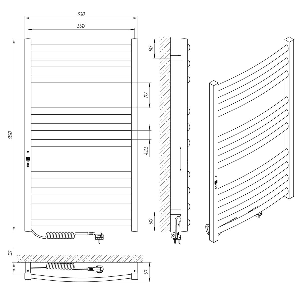 Схема - Полотенцесушитель LARIS Гранд П10 500 х 900 Е (підкл. зліва)