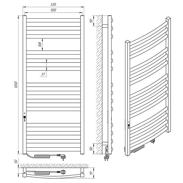 Схема - Полотенцесушитель LARIS Гранд П14 500 х 1200 Э (подкл. слева)