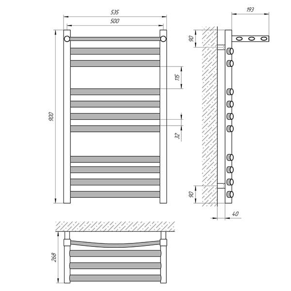 Схема - Полотенцесушитель LARIS Гранд П11 500 х 900 с полкой