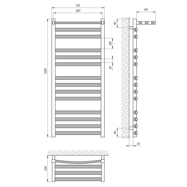 Схема - Полотенцесушитель LARIS Гранд П14 500 х 1200 с полкой