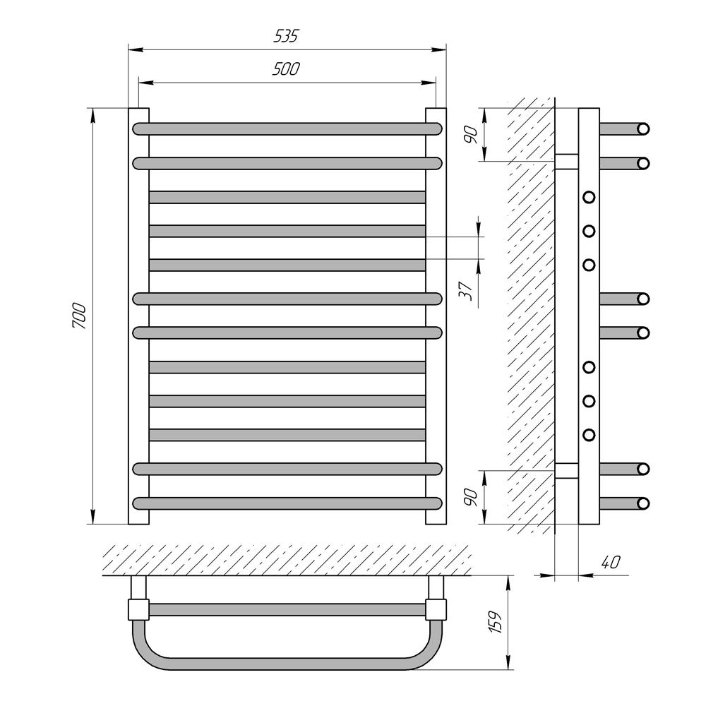 Схема - Рушникосушарка LARIS Гермес П12 500 х 700