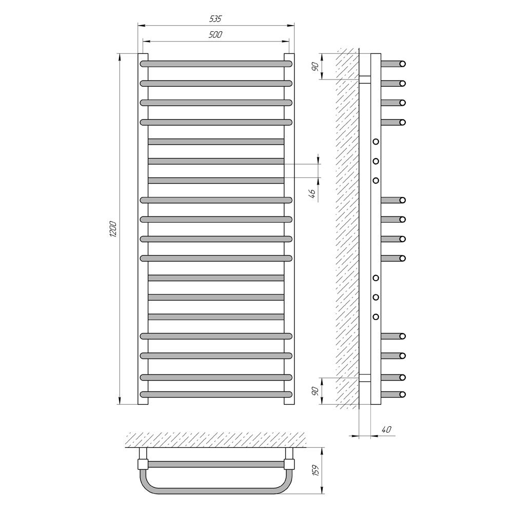Схема - Рушникосушарка LARIS Гермес П18 500 х 1200