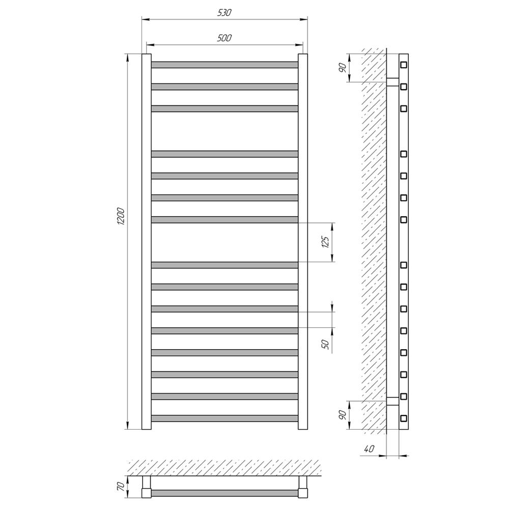Схема - Полотенцесушитель LARIS Імідж П15 500 х 1200
