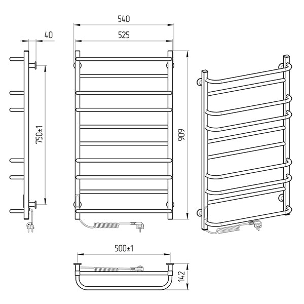 Схема - Полотенцесушитель LARIS Зебра Комфорт ЧК10 500 х 900 Электро (подкл. слева) R3
