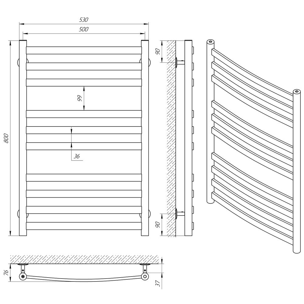 Схема - Рушникосушарка LARIS Кватро Классик П10 500 х 800
