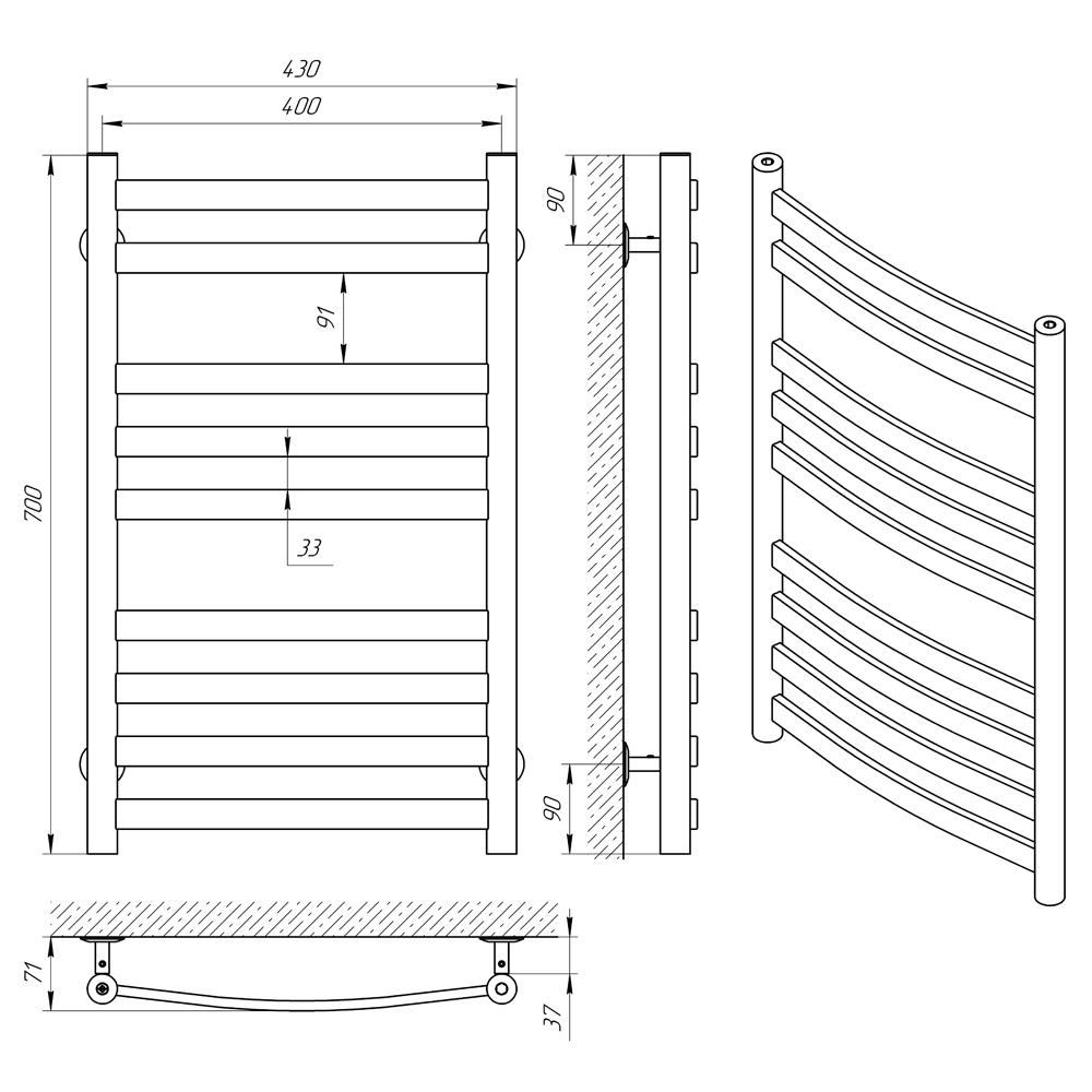 Схема - Полотенцесушитель LARIS Кватро Класік  П9 400 х 700