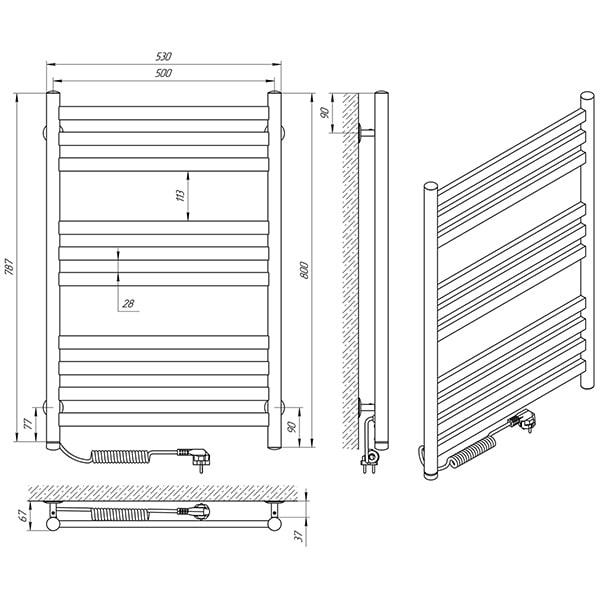 Схема - Полотенцесушитель LARIS Кватро П10 500 х 800 Э (подкл. слева)