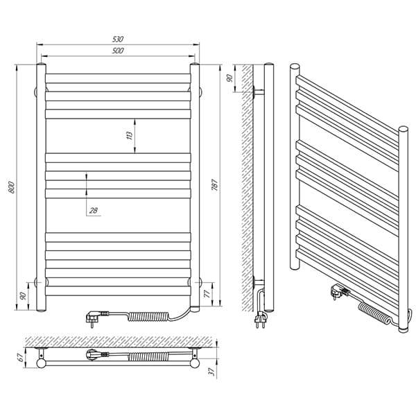 Схема - Полотенцесушитель LARIS Кватро П10 500 х 800 Э (подкл. справа)