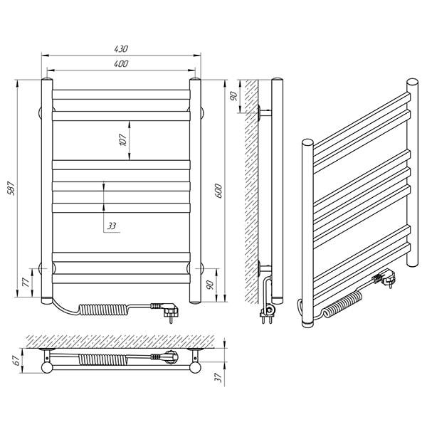 Схема - Полотенцесушитель LARIS Кватро П7 400 х 600 Э (подкл. слева)