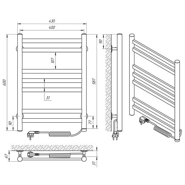 Схема - Полотенцесушитель LARIS Кватро П7 400 х 600 Э (подкл. справа)