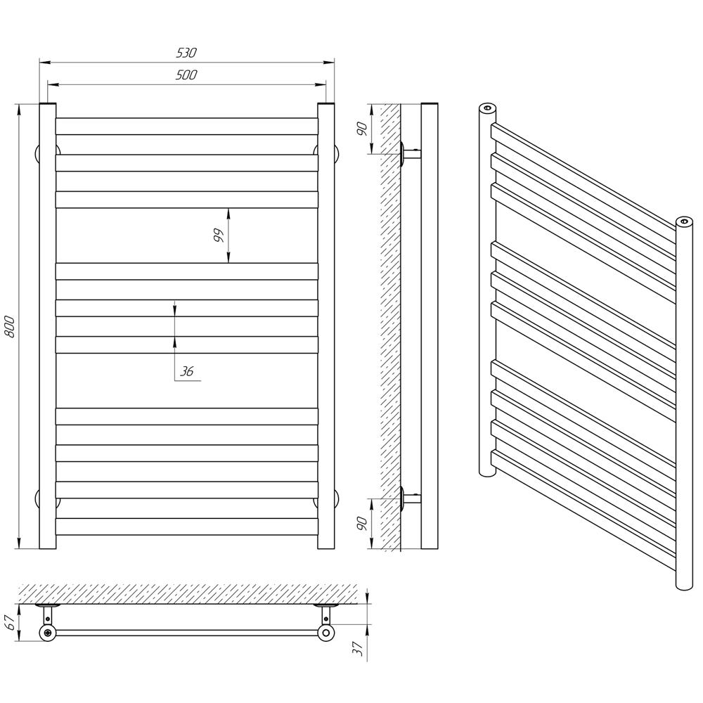 Схема - Рушникосушарка LARIS Кватро П10 500 х 800