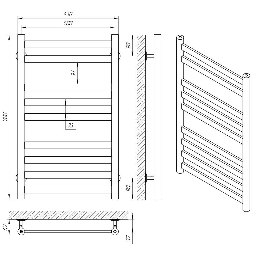 Схема- Рушникосушарка LARIS Кватро П9 400 х 700