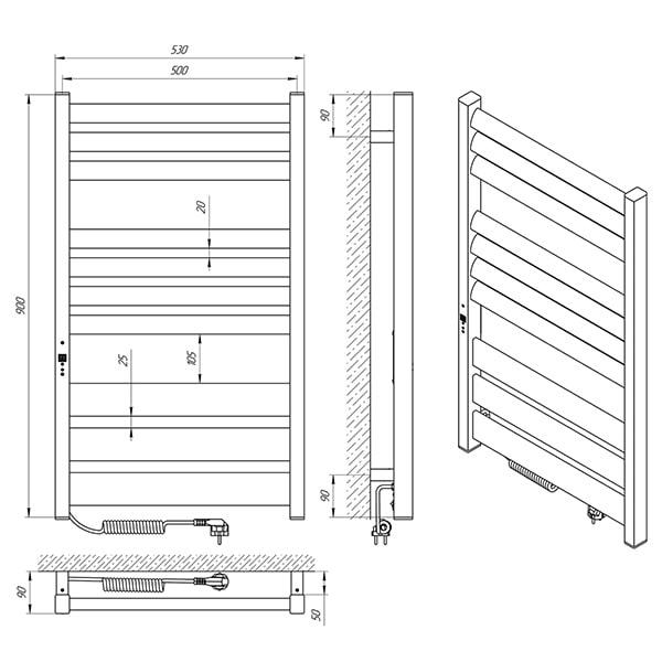 Схема - Полотенцесушитель LARIS Зебра Лавина ЧКЧ10 500 х 900 Э (подкл. слева)