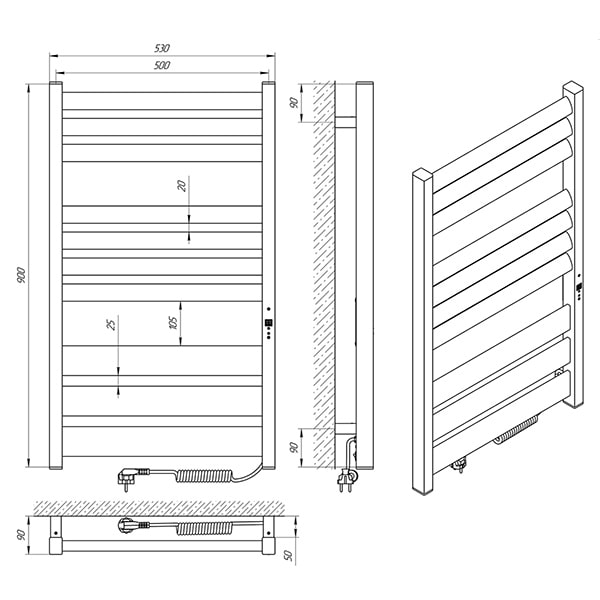 Схема - Полотенцесушитель LARIS Зебра Лавина ЧКЧ10 500 х 900 Э (подкл. справа)