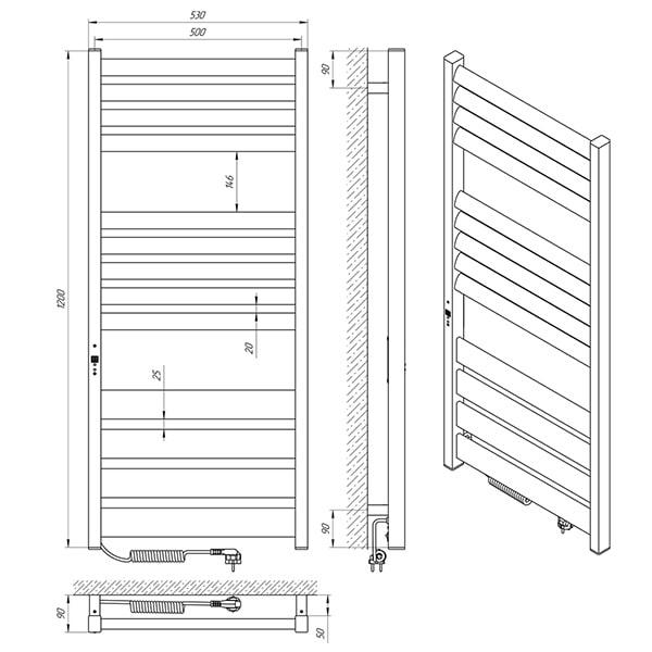 Схема - Рушникосушарка LARIS Зебра Лавина ЧФ10 500 х 900 Е (підкл. зліва)