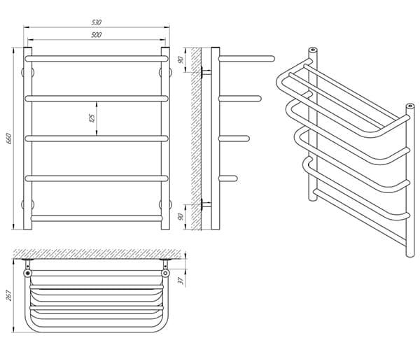 Схема - Рушникосушарка SANLINE Стандарт SL П5 500 х 660 з полицею
