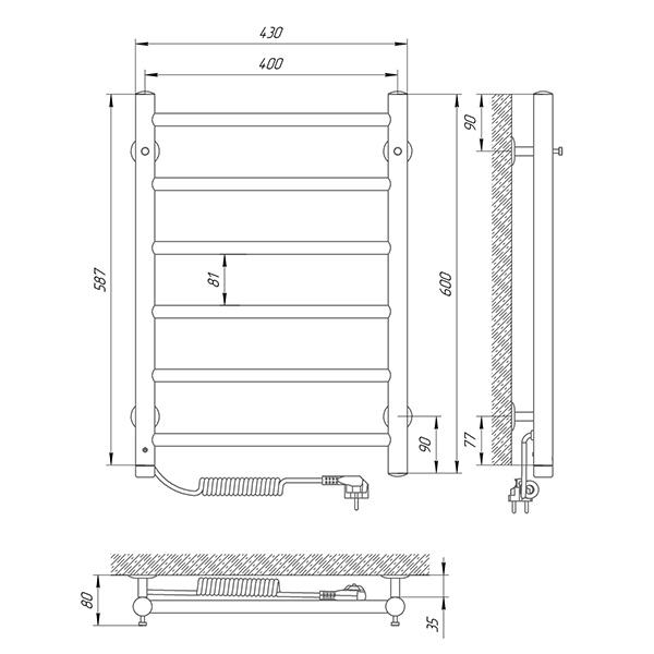 Схема - Рушникосушарка LARIS Альфа П6 400 х 600 Електро (підкл. зліва)