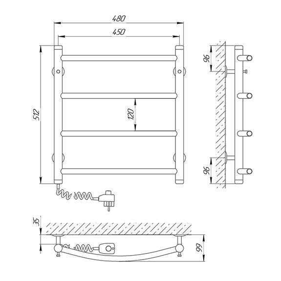 Схема - Полотенцесушитель SUNLINE Классик SL П4 450 х 500 Электро (подкл. слева)