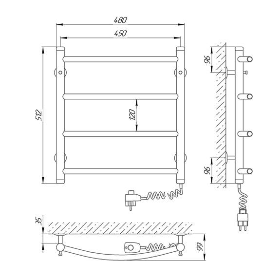 Схема - Полотенцесушитель SUNLINE Классик SL П4 450 х 500 Электро (подкл. справа)