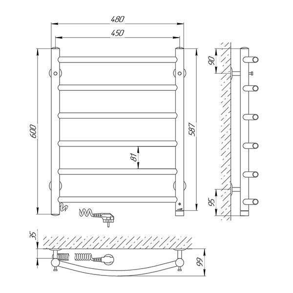 Схема - Полотенцесушитель SUNLINE Классик SL П6 450 х 600 Электро (подкл. слева)