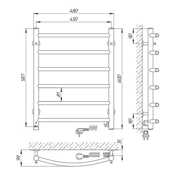 Схема - Полотенцесушитель SUNLINE Классик SL П6 450 х 600 Электро (подкл. справа)