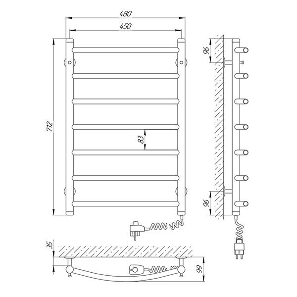 Схема - Полотенцесушитель SUNLINE Классик SL П7 450 х 700 Электро (подкл. справа)