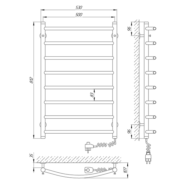 Схема - Полотенцесушитель SUNLINE Классик SL П8 500 х 800 Электро (подкл. справа)