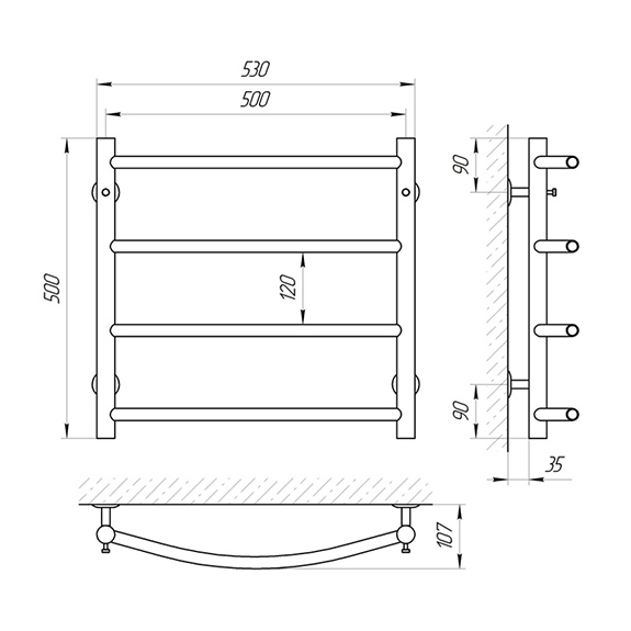 Схема - Полотенцесушитель SUNLINE Классик SL П4 500 х 500