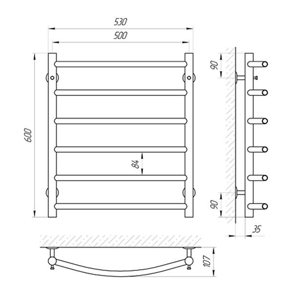 Схема - Полотенцесушитель SUNLINE Классик SL П6 500 х 600