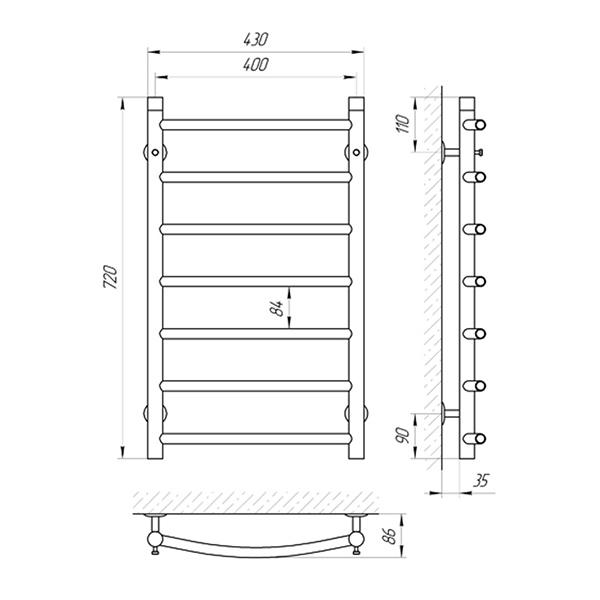 Схема - Полотенцесушитель SUNLINE Классик SL П7 400 х 700