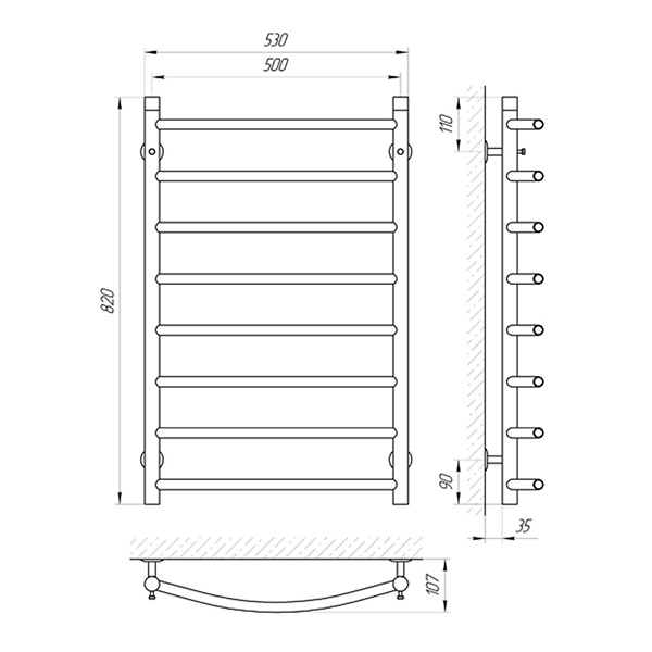 Схема - Полотенцесушитель SUNLINE Классик SL П8 500 х 800