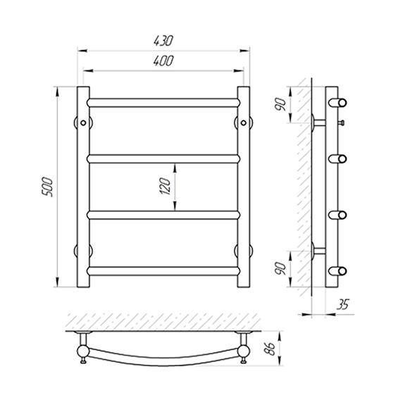 Схема - Полотенцесушитель SUNLINE Классик SL П4 400 х 500