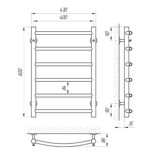 Схема - Полотенцесушитель SUNLINE Классик SL П6 400 х 600