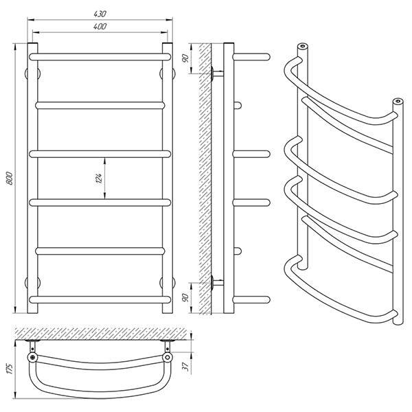 Схема - Рушникосушарка LARIS Єврофлеш П6 400 х 800