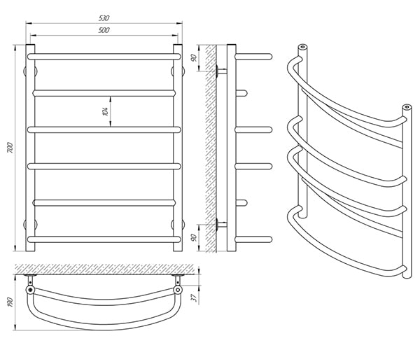 Схема - Полотенцесушитель SANLINE Еврофлеш SL П6 500 х 700