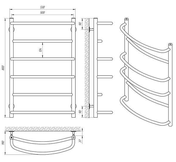 Схема - Полотенцесушитель SANLINE Еврофлеш SL П6 500 х 800
